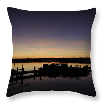 Lake Como Fall Sunset-1 Throw Pillow