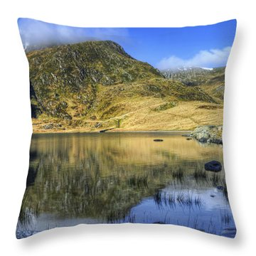 Lake Idwal Throw Pillow by Ian Mitchell