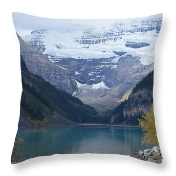 Lake Louise In Fall Throw Pillow by Cheryl Miller