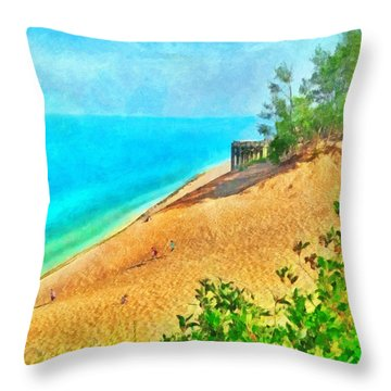 Lake Michigan Overlook On The Pierce Stocking Scenic Drive Throw Pillow
