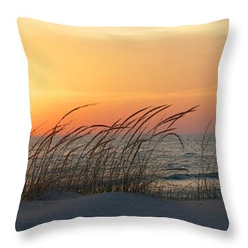 Lake Michigan Sunset Panorama Throw Pillow