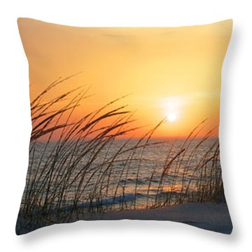 Throw Pillow featuring the photograph Lake Michigan Sunset Panorama by Mary Lee Dereske