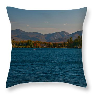 Lake Placid And The Adirondack Mountain Range Throw Pillow