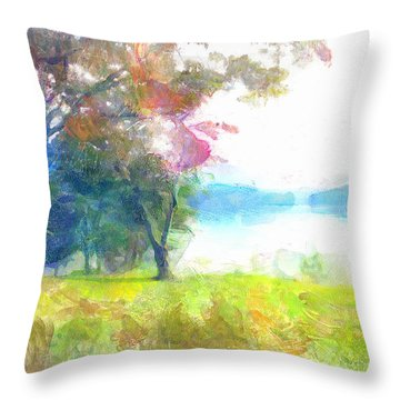 Throw Pillow featuring the painting Lake View by Wayne Pascall