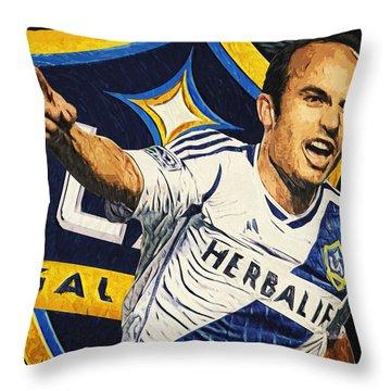 Landon Donovan Throw Pillow by Taylan Apukovska