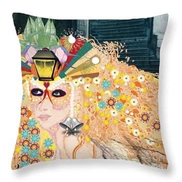 Throw Pillow featuring the digital art Lantern Fairy by Kim Prowse