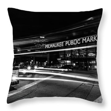 Laser Bus Throw Pillow