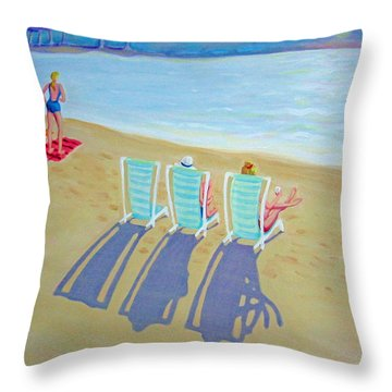 Sunset On Beach - Last Rays Throw Pillow by Rebecca Korpita