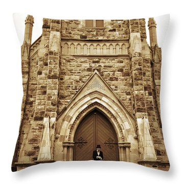Late For His Own Funeral Throw Pillow