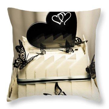 Layered White Wedding Cake With Chocolate Detail Throw Pillow