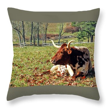 Lazy Morning Bull Throw Pillow