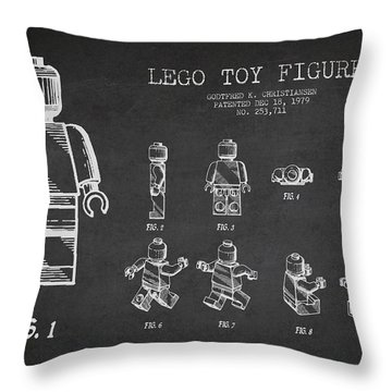 Lego Toy Figure Patent Drawing Throw Pillow by Aged Pixel