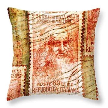 Leonardo Da Vinci 1952 Italian Stamp Throw Pillow