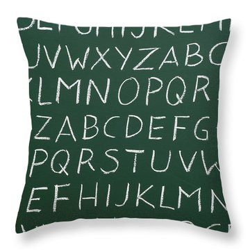 Letters On A Chalkboard Throw Pillow by Chevy Fleet
