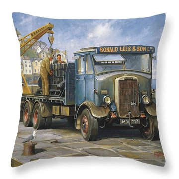 Leyland Hippo At Brixham. Throw Pillow by Mike  Jeffries