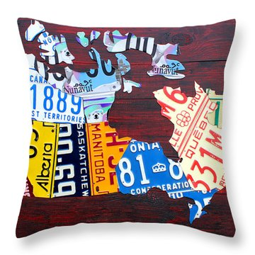License Plate Map Of Canada Throw Pillow