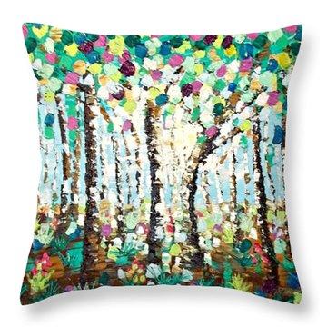 Light Through The Forest Throw Pillow