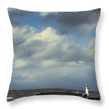 Lighthouse At Whitehaven Throw Pillow by Amanda Elwell