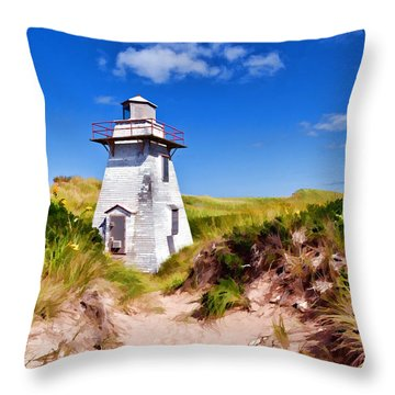 Lighthouse On The Dunes Throw Pillow by Dan Dooley