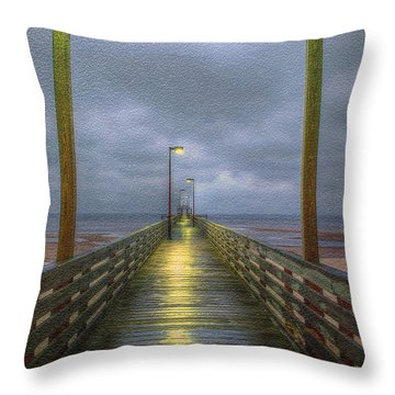 Lighthouse Pier Throw Pillow