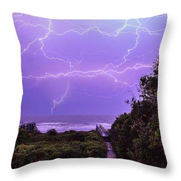 Lightning Over The Beach Throw Pillow
