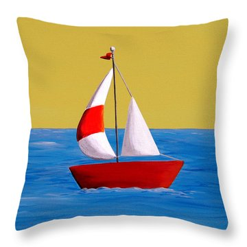 Lil Sailboat Throw Pillow by Cindy Thornton