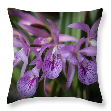 Lilac Orchid Cluster Throw Pillow