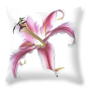 Pink Lily Throw Pillow