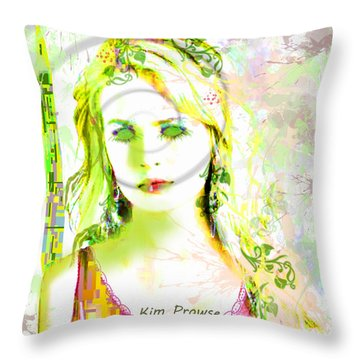 Throw Pillow featuring the digital art Lily Lime by Kim Prowse