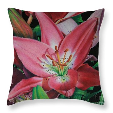 Throw Pillow featuring the painting Lily's Garden by Pamela Clements