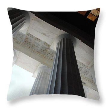 Lincoln Stained Glass And Columns Throw Pillow