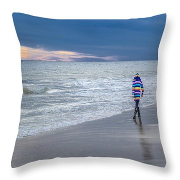 Little Girl At The Beache Throw Pillow