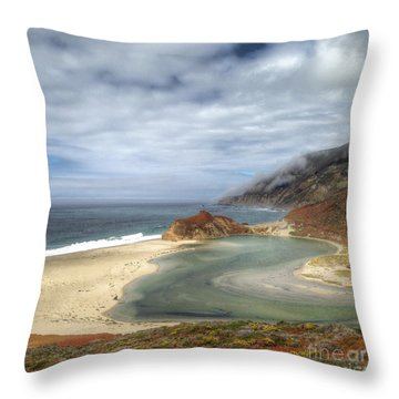 Little Sur River In Big Sur Throw Pillow