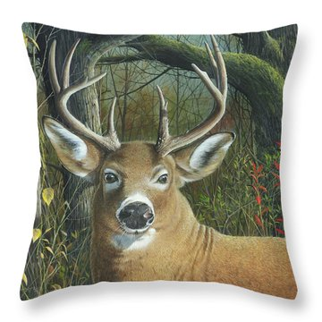 Throw Pillow featuring the painting Living On The Edge by Mike Brown