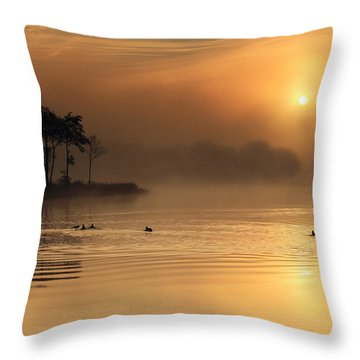 Loch Ard Morning Glow Throw Pillow by Grant Glendinning
