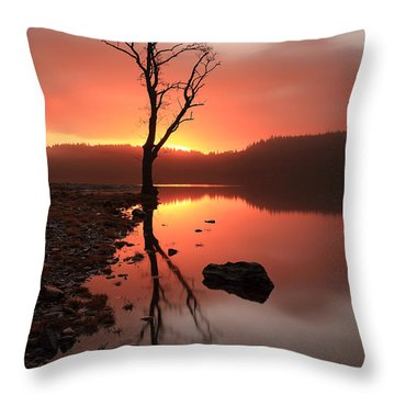 Loch Ard Sunrise Throw Pillow by Grant Glendinning
