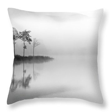 Loch Ard Trees In The Mist Throw Pillow by Grant Glendinning