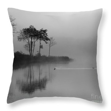 Loch Ard Trees In The Morning Mist Throw Pillow