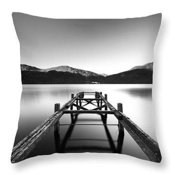 Loch Lomond Jetty Throw Pillow by Grant Glendinning
