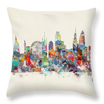 London City Skyline Throw Pillow