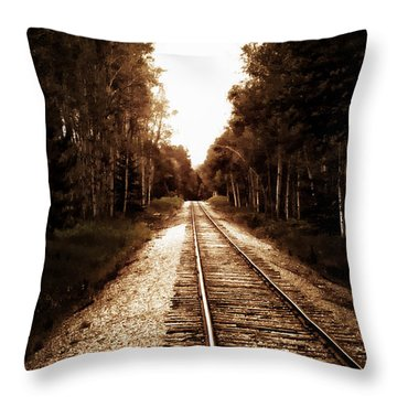 Lonely Railway Throw Pillow