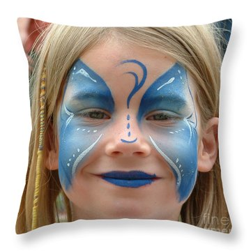 Looby The Butterfly Throw Pillow by Sheila Laurens