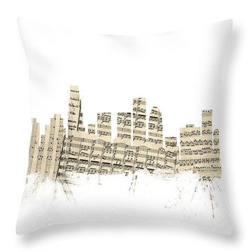 Los Angeles California Skyline Sheet Music Cityscape Throw Pillow by Michael Tompsett