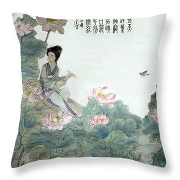 Lotus Pond Throw Pillow by Yufeng Wang