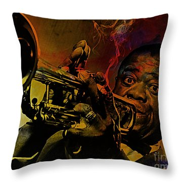 Louis Armstrong Throw Pillow by Marvin Blaine