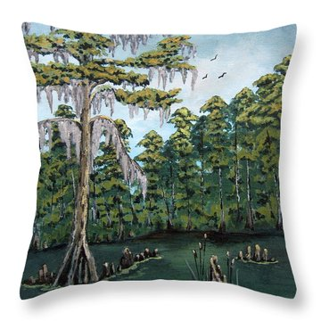 Throw Pillow featuring the painting Louisiana Cypress by Suzanne Theis