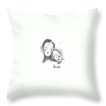 Throw Pillow featuring the drawing Love by Laurie L