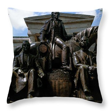 Low Angle View Of Statue Throw Pillow