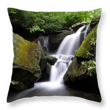 Lower Grotto Falls Throw Pillow by Frozen in Time Fine Art Photography