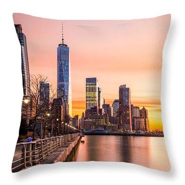 Lower Manhattan At Sunset Throw Pillow